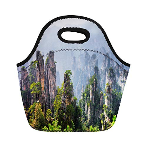 (Semtomn Neoprene Lunch Tote Bag Amazing View of Natural Quartz Sandstone Pillars the Tianzi Reusable Cooler Bags Insulated Thermal Picnic Handbag for Travel,School,Outdoors,Work)