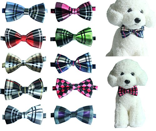 Yagopet 10pcs/Pack Pet Dog Bow tie Neckties Double Layers Hot Business Grid Design Cat Dog Bowtie neckties Adjustable Pet Pet Collars Dog Grooming Products Dog Accessories Cute Gift (Cat Bowties)