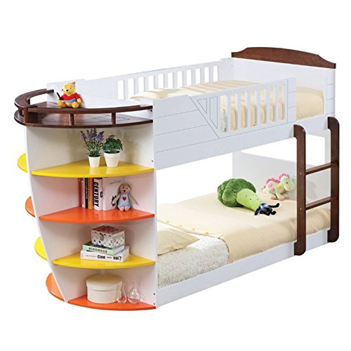 Bed Cottage Twin (Acme Neptune Bunk Bed with Storage Shelves, White/Chocolate, Twin Over Twin)
