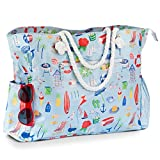 Large Beach Bag, Waterproof Canvas Beach Tote with Zippered Pockets, Holds Beach Accessories, 18''x 14.5''x 6''