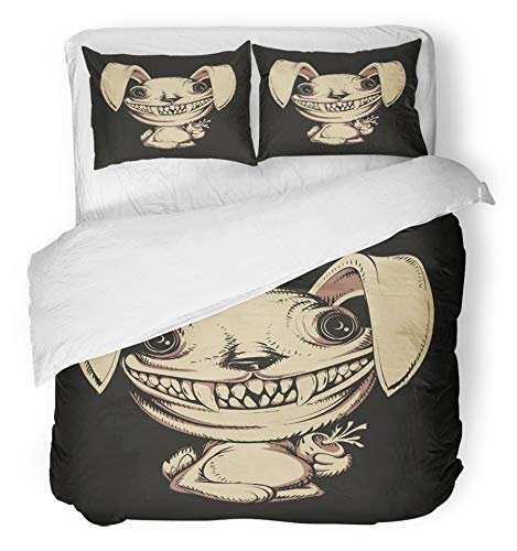 Emvency 3 Piece Duvet Cover Set Brushed Microfiber Fabric Breathable Animal Cartoon Scary Rabbit Bunny Character Crazy Demon Face Fear Halloween Bedding Set with 2 Pillow Covers Full/Queen Size