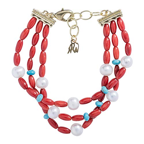 American West Sterling Silver Red Coral, Turquoise and Pearl Gemstone Three Strand Bracelet Size Large