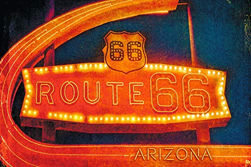 (Arizona - Route 66 Neon Sign (16x24 SIGNED Print Master Giclee Print w/Certificate of Authenticity - Wall Decor Travel Poster))