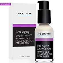 Anti-aging Super Serum with Ferulic Acid, Vitamin C, and Vitamin E  YEOUTH's latest formulation is infused with other key nourishing ingredients like Vitamin C & E, Ferulic Acid, Shea Butter, & Tripeptide 31, creating the optimal cond...