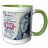 3dRose Carsten Reisinger Photography - Former German 10 ten deutsche mark german bill bank note cash currency - 11oz Two-Tone Green Mug (mug_155079_7)