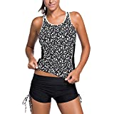 FITTOO Women's Padded Plus Size Racer Back Tankini Set with Drawstrings Boyshorts Swimsuits Sporty Swimwear Letter XXL