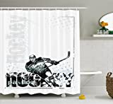 Ambesonne Hockey Shower Curtain, Professional Goaltender in Sketch Art Style on a Grunge Sports Background with Dots, Cloth Fabric Bathroom Decor Set with Hooks, 70 inches, Multicolor
