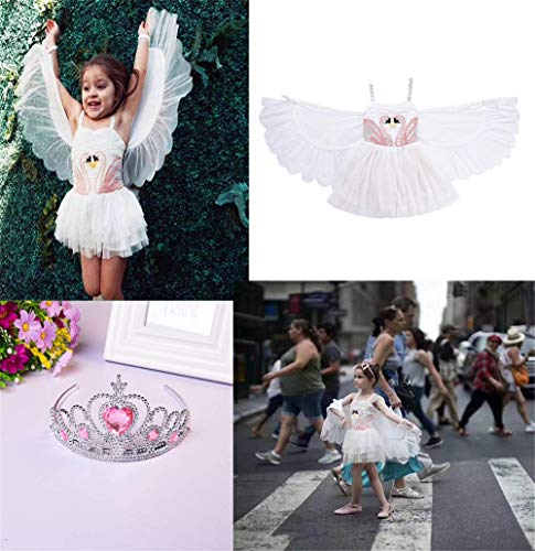 Girls Flamingo Costume Pageant Princess Party Tutu Dress with Angel Wings and One Glitter Bow Clip -