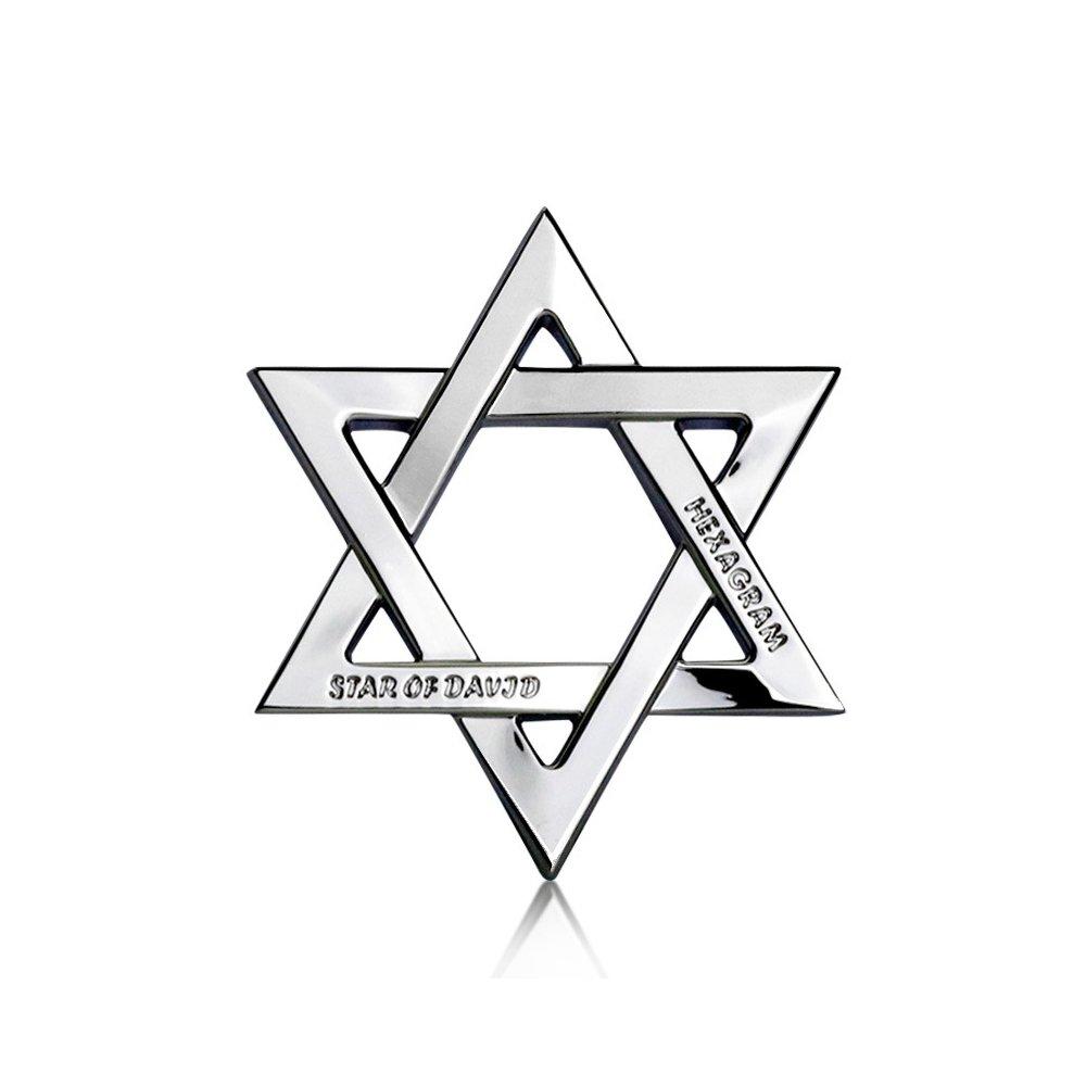 Hexagram Car Decals Star of David Car Stickers Metal Emblem Badge Quotes Trucks Motorcycles Tattoo Sticker Car Decorations Accessories Waterproof Charm Gold Silver Black 3pcs【1797】