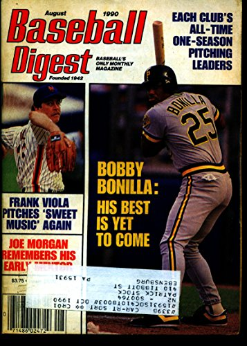 BASEBALL DIGEST AUG 1990 FRANK VIOLA METS & BOBBY BONILLA PIRATES EX