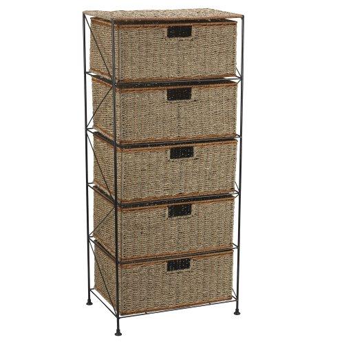 Household Essentials 5-Drawer Storage Unit, Seagrass/Rattan, 41.25 by 18 by 12-Inch (Rattan Storage Unit Drawer)