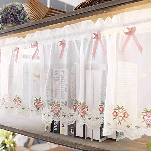 JFFFFWI Silk Road Pastoral Care Shading Glazing, Gauze Embroidery Glazing for The Kitchen Cabinet Dining Room - Roses 200 x 35 cm (79 x 14 inches)