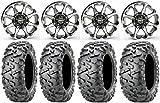 Bundle - 9 Items: STI HD6 14'' Wheels Machined 28'' BigHorn 2.0 Tires [4x110 Bolt Pattern 10mmx1.25 Lug Kit]
