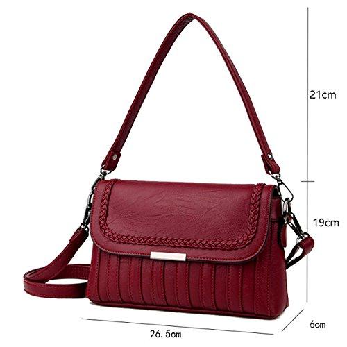 Portatile borsa Messenger fashion wild borsa a tracolla, vino rosso