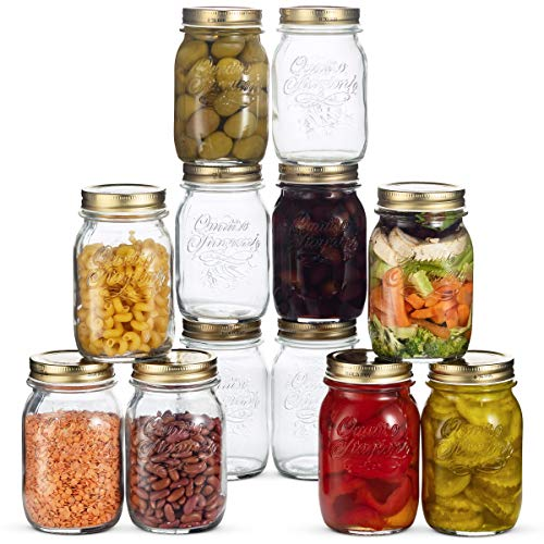 Bormioli Rocco Quattro Stagioni Glass Mason Jars - 12 Pack - (17 Ounce) with Gold Airtight Lid for Canning, Fermenting, Preserving, Storing, Italian Made Glass Jar