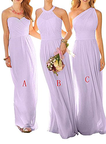 Lilac BOwith Dresses Women Chiffon Long Gown Wedding Dress Prom for Bridesmaid a Party FrZOqSFn