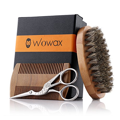 WOWAX Beard Grooming & Trimming Kit for Men - Boar Bristle Beard Brush, Wooden Mustache & Beard Comb and Beard Scissors for Men, Beard Grooming Care Kit Gift Sets for Men