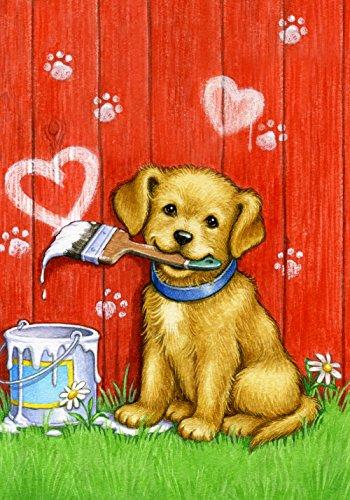 Toland Home Garden Painter Puppy 28 x 40 Inch Decorative Cute Dog Valentine Heart House Flag
