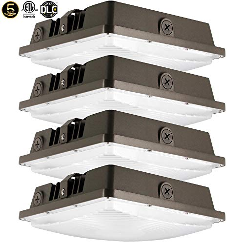 LED Canopy Light 80W,ETLus-Listed and DLC-Qualified,5000K Daylight White, 9600Lumen, 120-277VAC,175-450W MH/HPS/HID Replacement, IP65 Waterproof and Outdoor Rated, 5 Years Warranty,4Pack ()