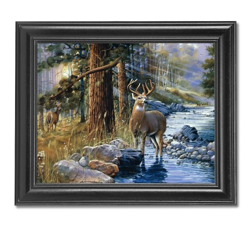 Buck Deer and Doe by Lake Cabin Lodge Wall Picture Framed Art Print