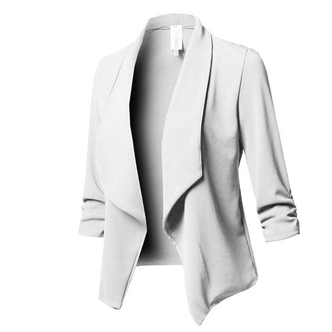 Talla Grande Blazer Blanco Frente Abierto Chaqueta Casual ...