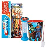 DC Comics Boy's Superman 6pc. Bright Smile Oral Hygiene Set! 3pk Soft Manual Toothbrush, Toothpaste, Brushing Timer & Mouthwash Rinse Cup! Plus ''Remember To Brush'' Visual Aid!