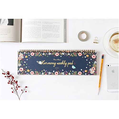Harmony Weekly Planner Pad, Undated Desk Calendar, Appointment Book, Scheduler, 60 Weeks, 12 Floral Pattern Designs, 14