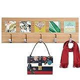 Genenic Bamboo Coat Hook Shelf Wall-Mounted Hanging Shelf Entryway Wall Shelf 5 Chrome Wall Hanger Hooks Natural Color