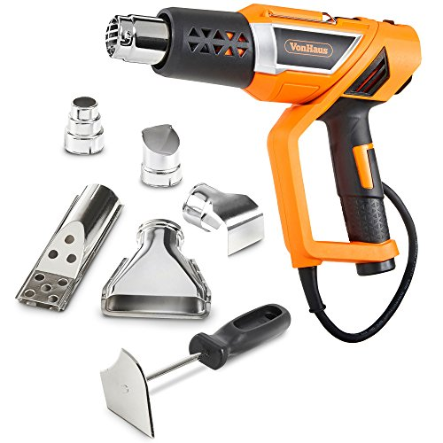 Gun Heat Adjustable (VonHaus 1500W Heat Gun Variable Temperature 122℉~1112℉ (50℃~600℃) with Adjustable Handle and Five Nozzle Accessories for Lighting BBQ Grills, Shrinking PVC, Removing Paint, Bending Pipes)