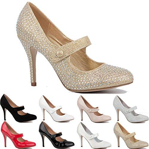Taglia Nuove 3 Party Mid Tacchi Prom Donne Donna Stiletto Pompe Oro Alti Scarpe Diamante 8 nnZxPrvtw