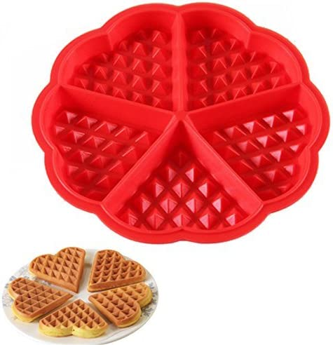 Stonges Lot de 2 moules /à gaufres en silicone en forme de c/œur 5 cavit/és Rouge