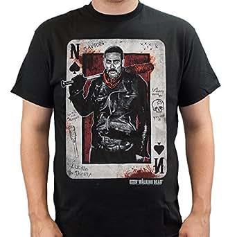 The Walking Dead Men's Negan Playing Card T-shirt Black 3XL