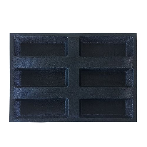 Bluedrop Silicone Bread Forms Square Shape Bread Molds Non Stick Bakery Trays Silicone Coated Fiber Glass 6 Caves Rectangle Moulds by Bluedrop (Image #6)
