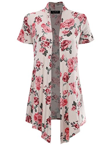 All for You Women's Soft Drape Floral Cardigan Short Sleeve Stone 61273 XX-Large - Ribbed Print Cardigan