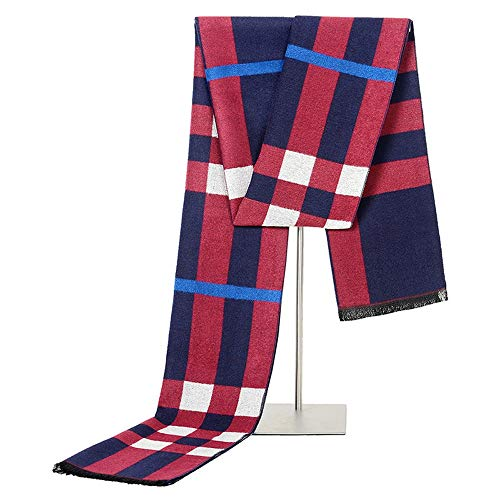 (Canyixiu Autumn and Winter Simulation Silk Brushed Scarf Men's Business Casual Warm Scarf (Color : Red Blue))