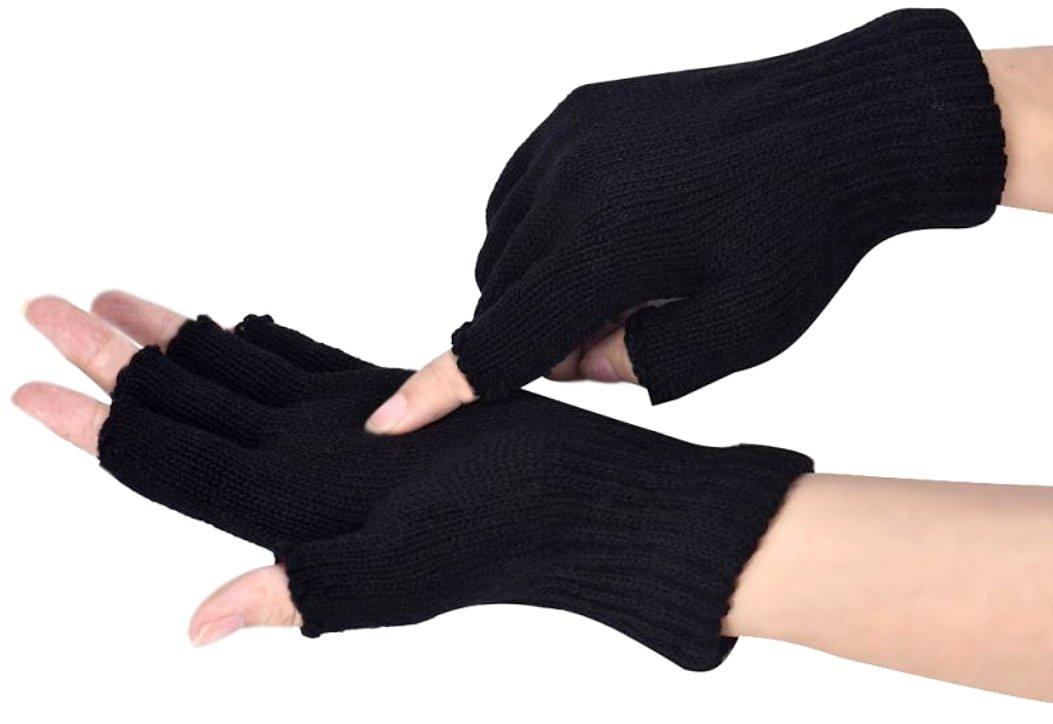 PRESKIN – Fingerless stretchy knit gloves, black soft unisex half finger gloves