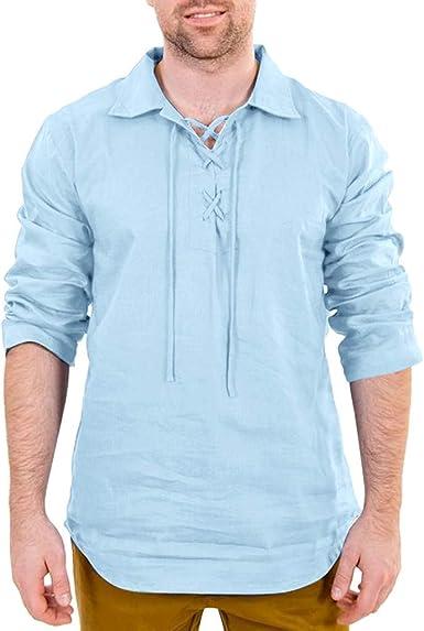 TUDUZ Camisetas Hombre Manga Larga Color Sólido Camisas Algodón Y Lino Tops Cordón Ropa Retro: Amazon.es: Ropa y accesorios
