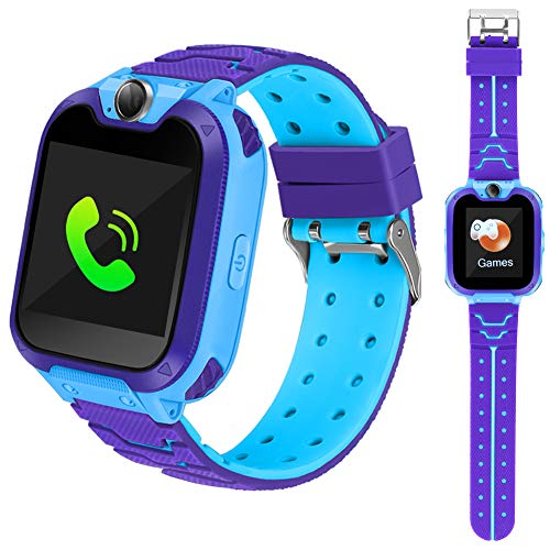 Smart Phone Watches For Kids Game Watch With Camera Touch Screen Digital Wrist Phone Watch Music Player For 3-12 Year Old Boys Girls Ipx5 Waterproof Electronic Educational Learning Toys (Blue) (Best Phone For 11 Year Old Boy)