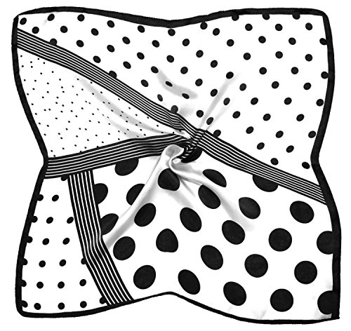 White Spot Silk Scarf (Black White Spot Print Small Fine Silk Square Scarf)