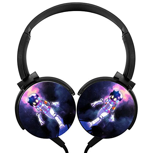 Space Walk Stereo Headphones Lightweight With Mic Over Ear, Cute Headsets For Iphone, Ipad, Smartphone And Tv 3.5Mm Black