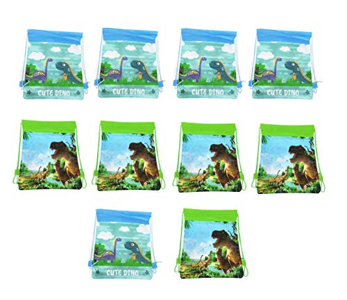 Astra Gourmet Cute Dinosaur Party Goodie Bags, Dino Drawstring Favor Bags Pouch, Dinosaur Themed Party Supplies Drawstring Backpacks for Kids Birthday Gift Bags - Set of 10