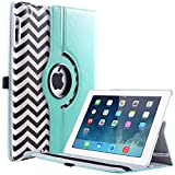 (US) iPad 4 Case,iPad 3 Case,iPad 2 Case,ULAK 360 Degree Rotating Stand Cases Smart Cover with Retina Display (iPad 4th Generation) and Automatic Wake/Sleep Feature for Apple iPad 2/3/4(Blue/Black Wave)
