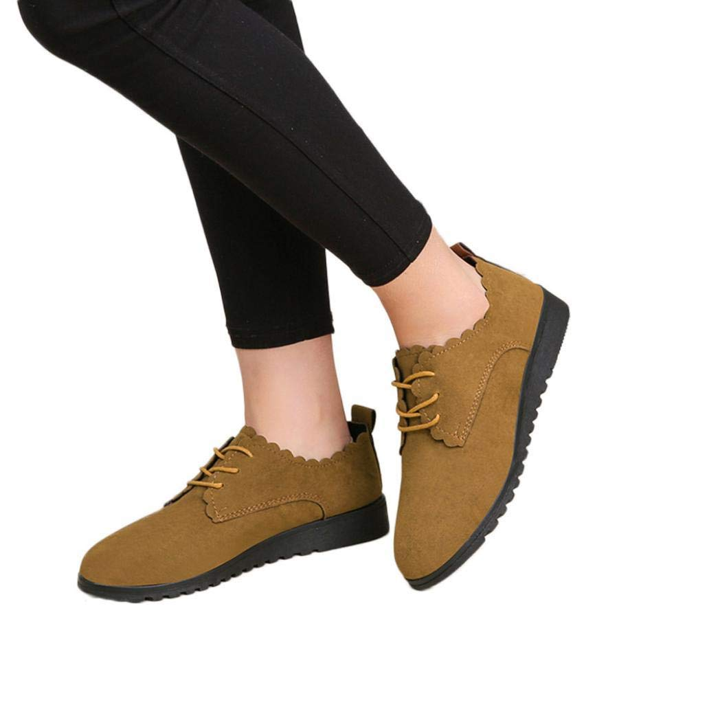 Gyoume Women Shallow Boots Shoes Teen School Flat Wedge Boots Lace up Boots Boat Shoes