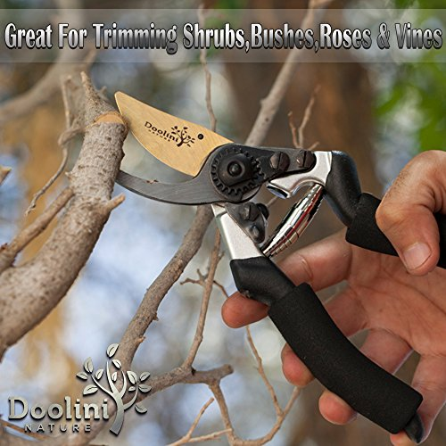 Doolini Nature Professional Pruning Shears - Bypass Garden shears,Drop Forged Hand Pruners Ergonomic Comfort Grip & Safety Lock by Doolini Nature (Image #7)