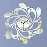 Alrens_DIY(TM) Silver Flower Spiral Shape Luxury Modern Design Art Acrylic Non-ticking Queit Quartz Wall Clock DIY Removable 3D Wall Clock Home Decor Mirror Wall Sticker Living Room Bedroom Office Decoration