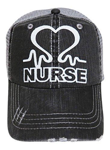 Spirit Caps White Glitter Nurse Distressed Look Grey Trucker Cap Hat Nursing