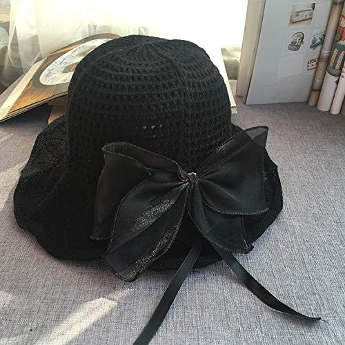 exquisite literary hat cap women girls summer travel sun solid color unique collapsible sun (crocheted cotton hat black bow ()