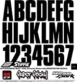 "STIFFIE Uniline Black SUPER STICKY 3"" Alpha Numeric Registration Identification Numbers Stickers Decals for Sea-Doo SPARK, Inflatable Boats, RIBs, Hypalon/PVC, PWC and Boats."