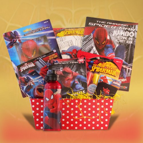 Christmas Gift Baskets For Kids.Spiderman Christmas Gift Baskets For Kids Full Of Activities