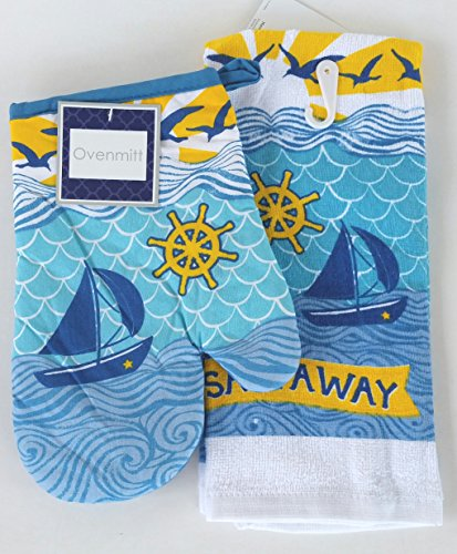 Nautica Sail Away Heat Resistant Oven Mitt  and Kitchen Towe